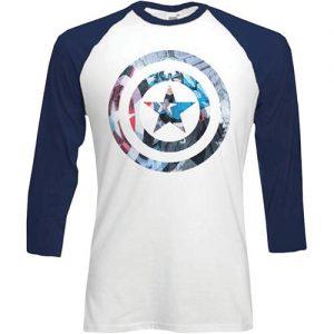 Captain America Shield – Blue & White Baseball T-Shirt